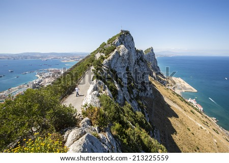 Gibraltar, UK - June 21: View from the Rock over Gibraltar and La Linea de la Concepcion in Gibraltar, UK on June 21, 2014. - stock photo