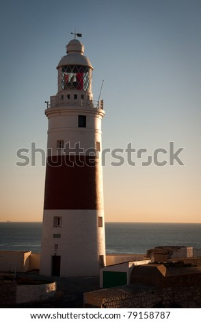 Gibraltars famous Lighthouse overlooking the Straits of Gibraltar - stock photo