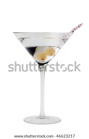 Gibson mixed drink with onions on a white background - stock photo