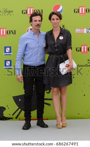 Giffoni Valle Piana, Sa, Italy - July 15, 2017 : Francesco Montanari and Andrea Delogu at Giffoni Film Festival 2017 - on July 15, 2017 in Giffoni Valle Piana, Italy