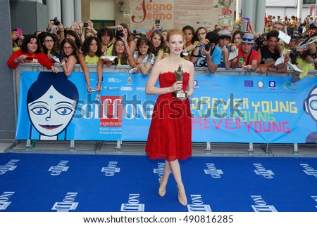 Giffoni Valle Piana, Sa, Italy - July 21, 2013 : Jessica Chastain at Giffoni Film Festival 2013 - on July 21, 2013 in Giffoni Valle Piana, Italy