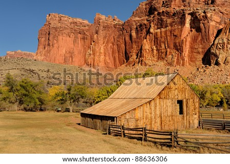 Gifford barn at the Fruita Oasis in Capitol Reef National Park, Utah - stock photo
