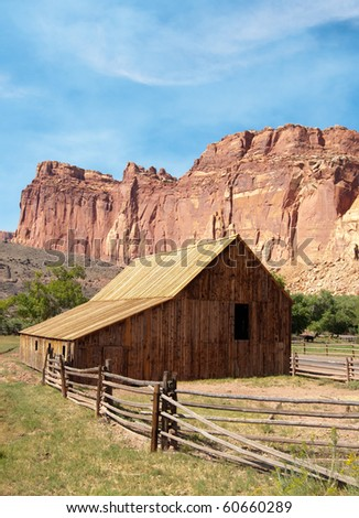 gifford farm house ranch on an oasis in the desert - stock photo