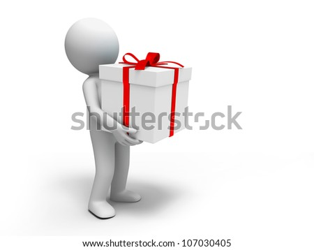 Gift/ A people holding the gift box - stock photo