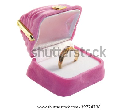 Gift a ring on a white background in a casket - stock photo