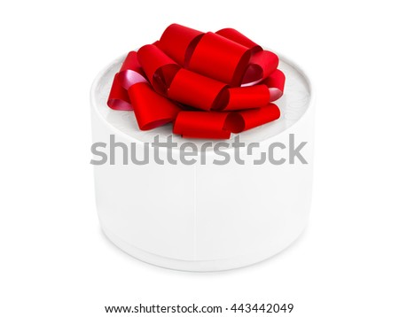 Gift and red bow isolated on white background