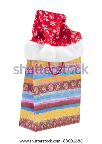 gift bag and a hat Christmas on a white background