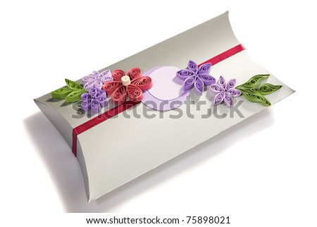 Gift bag in silver and pink with tissue - stock photo