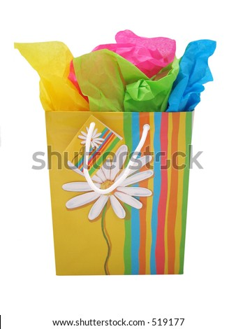 Gift bag on white background. - stock photo