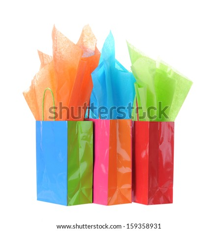 gift bags and tissue isolated on white - stock photo