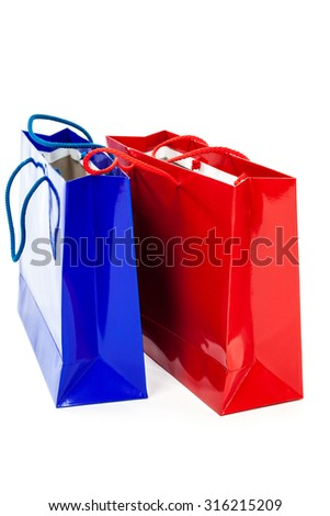 Gift bags isolated on a white background.