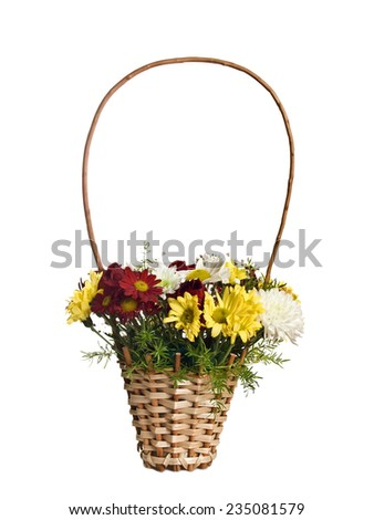 Gift basket with a bouquet of beautiful flowers, chrysanthemum - stock photo