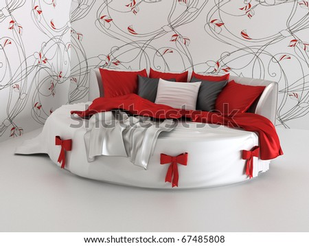 gift bed in modern interior with wallpapers - stock photo