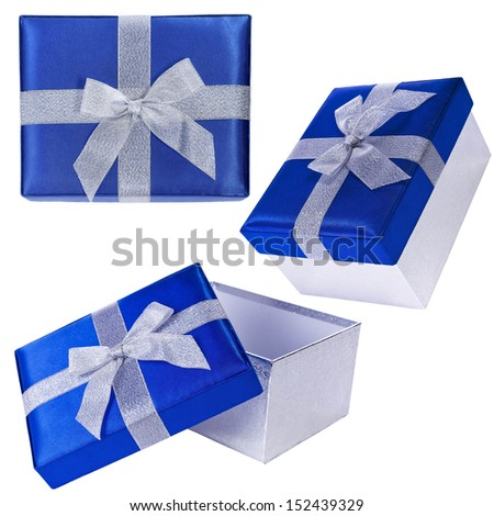 Gift blue  box with silver ribbon closeup, isolated on white background, set of blue gift boxes - stock photo