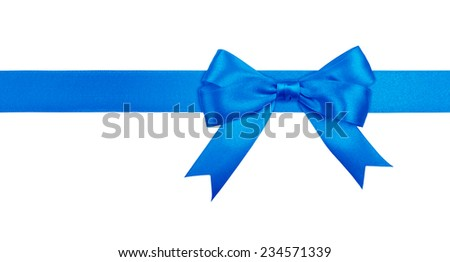 Gift blue ribbon and bow isolated on white background. - stock photo
