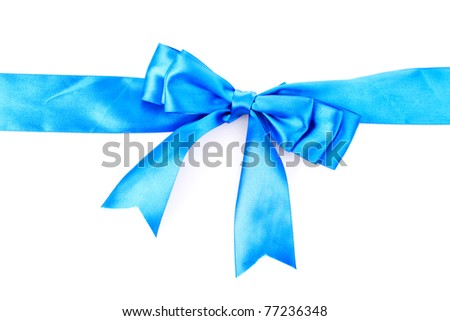 Gift blue ribbon and bow isolated on white background - stock photo