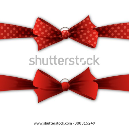 Gift bow. Holiday card with red bow and ribbon. Red polka dots bow and ribbon - stock photo