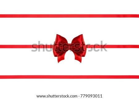 Gift bow, red silk, with three ribbon isolated on white