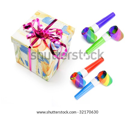 Gift Box and Party Blowers on White Background - stock photo