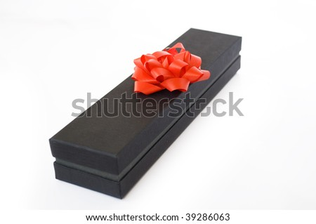 gift box and red bow - stock photo
