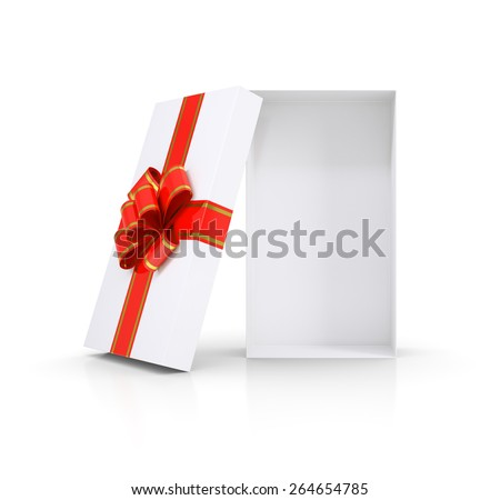Gift box and red bow. Isolated on white background