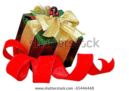 Gift box and red ribbon isolated on white background - stock photo