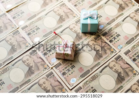Gift box and ten thousands japanese yen