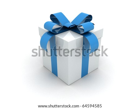 Gift box blue isolated on white
