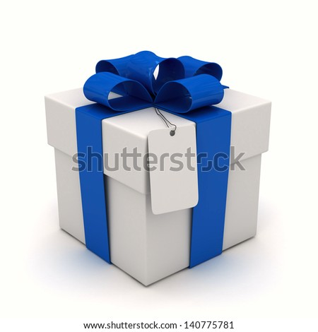 Gift box blue ribbon and label - stock photo