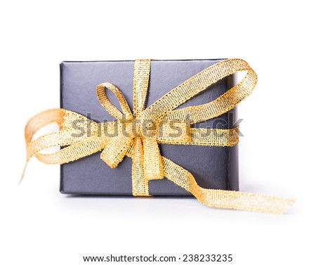 gift box bow black yellow Isolated on white background - stock photo