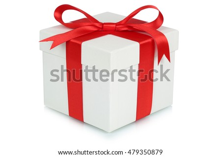 Gift box bow Christmas gifts birthday Valentines day isolated on a white background