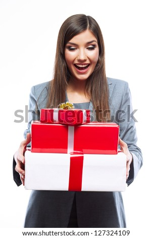 Gift box business woman hold against white background. Close up Isolated portrait of young smiling model. - stock photo