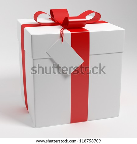Gift box 3d render - stock photo