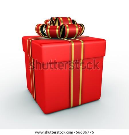 Gift box - 3d render - stock photo