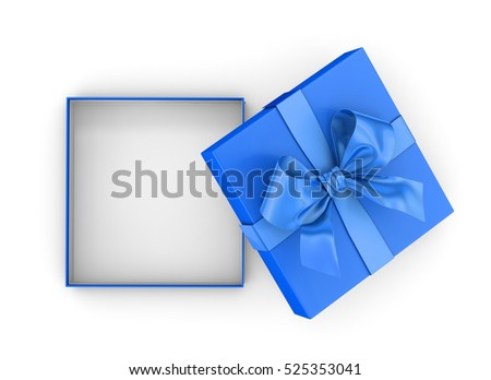 gift box for Christmas, New Year's Day ,open blue sky gift box top view on white background 3d rendering