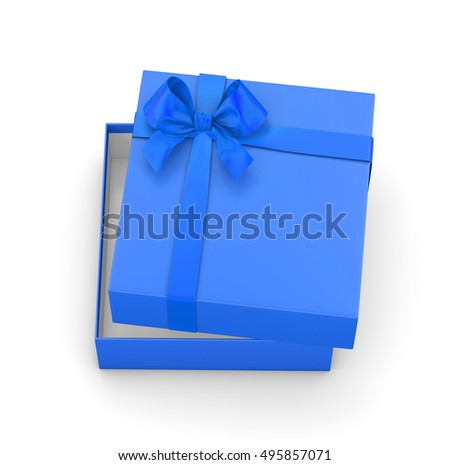 gift box for Christmas, New Year's Day ,Open blue sky  gift box top view white background 3d rendering