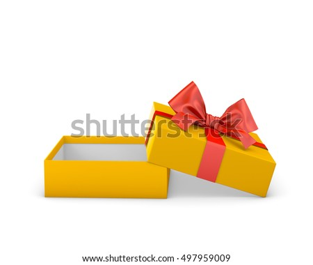 gift box for Christmas, New Year's Day ,Open red yellow gold gift box white background 3d rendering