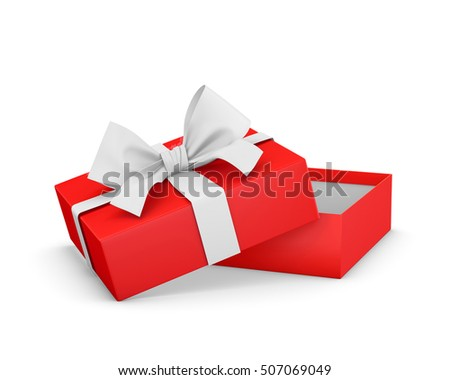 gift box for Christmas, New Year's Day ,Opening red gift box white ribbon background 3d rendering
