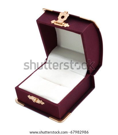 Gift box for ring isolated on white - stock photo