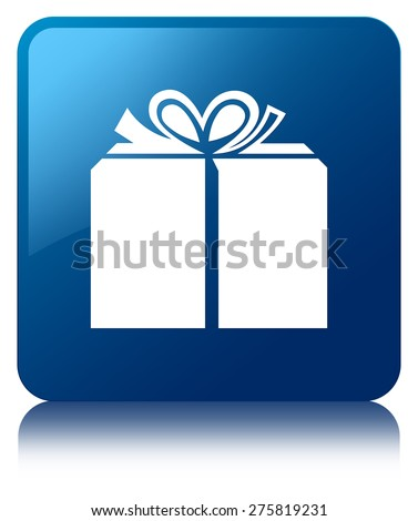 Gift box icon blue square button - stock photo