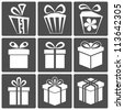 Gift box icon set different styles. Illustration - stock vector