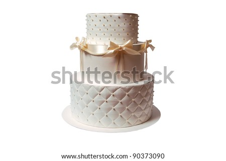 gift box in a form of cake on white - stock photo