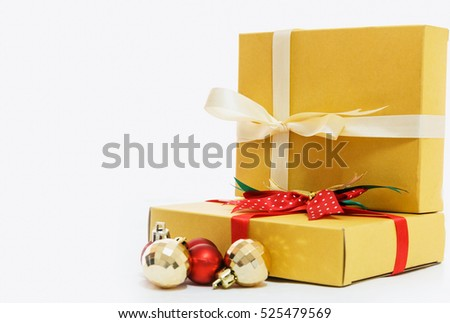 Gift box in New Year Festival on white backgrounds