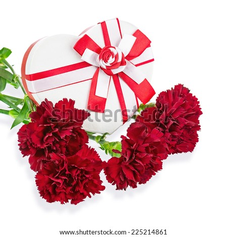 Gift Box in Shape of Heart and Bouquet from Carnations Flowers Isolated on White Background.