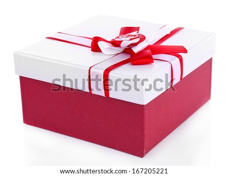 Gift box, isolate on white - stock photo