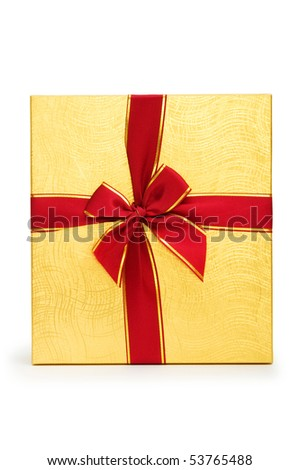 Gift box isolated on the white background - stock photo