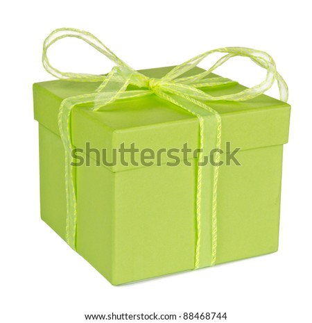 Gift box, isolated on white background - stock photo