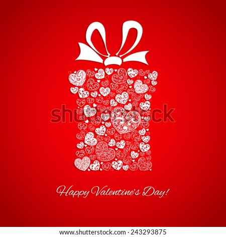 Gift box made of many hearts for Valentines Day, white on red - stock photo