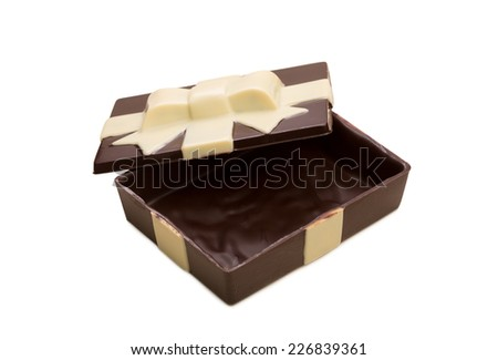 Gift box made of tasty mixed chocolate - stock photo