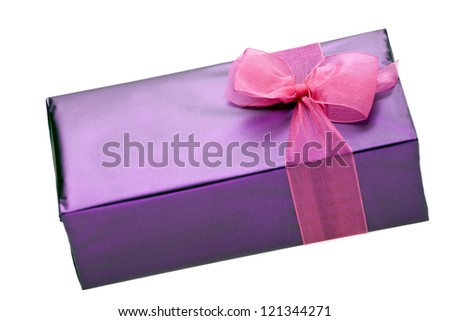 Gift box  of chocolates with pink ribbon on white background